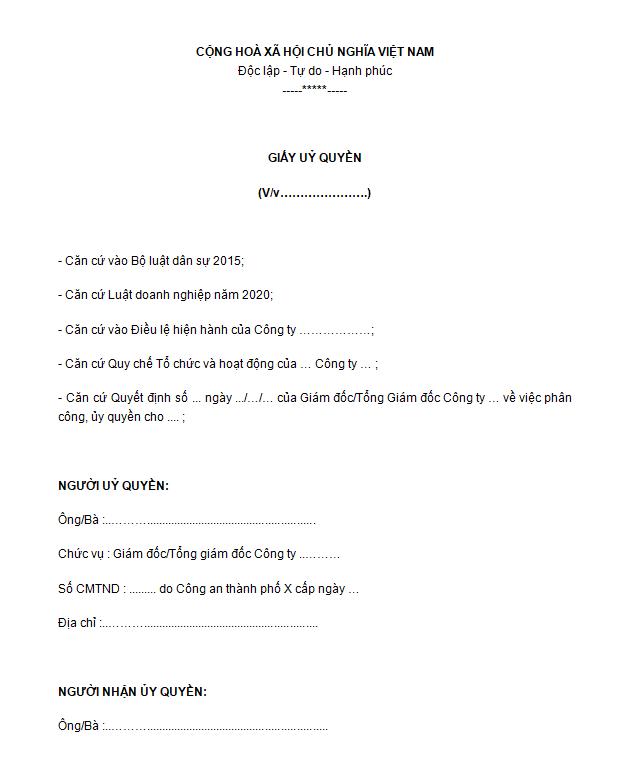Mẫu giấy ủy quyền cho công ty/doanh nghiệp-1